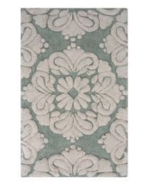 2 piece Medallion Pattern Cotton Tufted Bath Rug Set by Better Trends In Green