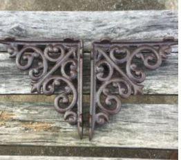 Heavy Duty Iron Decorative Shelf Bracket Patio Garden Ornate Pair Multi Style