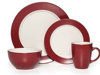 Pfaltzgaff Everyday Red White Round Harmony 16 piece Dinnerware Set