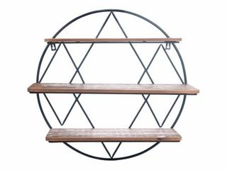 Foreside Home  amp  Garden Round 20 25 inch Diameter Three Tier Wood and Metal Hanging Wall Shelf  Retail 101 49