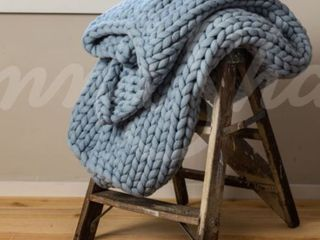 Chunky Knitted Blue Blanket  Donna Sharp  Retail 115 00