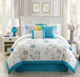 Tegan Blue Embroidery 7 Piece Queen Comforter