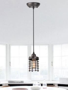 Industrial 1 light Black Spiral Mini Pendent light Fixture