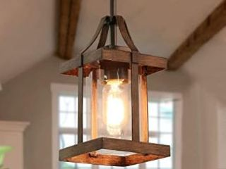 Faux Wood Pendant lighting Farmhouse Hanging Fixture with Glass Shades for Kitchen Island