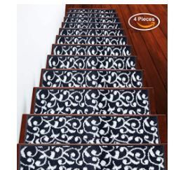 SUSSEXHOME leaves Collection Stair Treads  Navy White  Set of 13  Retail 76 48