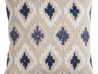Rizzy Home Off white  Blue Diamond Cotton Canvas Decorative Throw Pillow