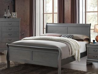 Furniture of America Devi Contemporary Grey Solid Wood King Sleigh Bed  Retail 677 99