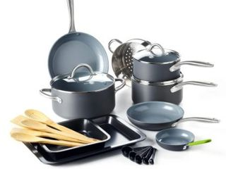 GreenPan lima Ceramic Non Stick Cookware Set  18pc  Retail 181 99