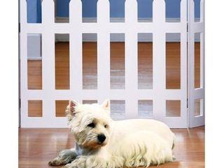 Folding White Picket Pet Gate  Medium