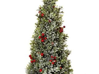 Frosted Boxwood Cone Tree with Red Berries