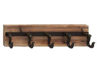Industrial Iron  amp  Wood 5 Hook Wall Rack by Studio 450