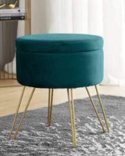 Round Velvet Storage Ottoman with Gold Metal legs   Tray Top Table  Retail 81 48