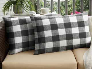 Humble   Haute Black Buffalo Plaid Indoor  Outdoor Xl lumbar Pillow  Set of 2
