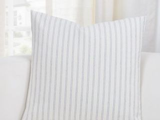 SIScovers Ticking Stripe Pewter Accent Throw Pillow  Set of 2