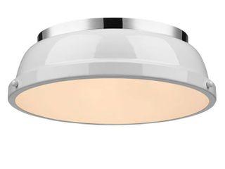 Golden lighting Duncan Chrome with White Shade Steel 14 inch Flush Mount light   Retail 95 00