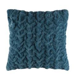 Silver Orchid Bachman Ruched Faux long Fur Solid Brushed Euro Throw Pillow