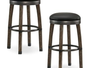 leick Home Graystone Wood Cask Stave Bar Height Stool with Faux leather Seat  Set of 2