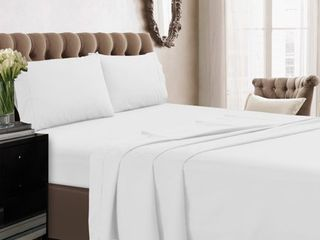 Cotton Percale Deep Pocket Solid Sheet Set  Queen  White 350 Thread Count   Tribeca living