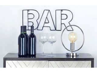 Small Industrial Style Black Metal  BAR  Wall Decor Sign