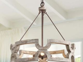 The Gray Barn Maplehurt Farmhouse Drum Chandelier  Retail 249 99