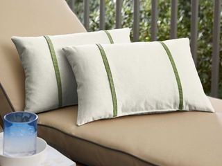 Humble   Haute Sunbrella Canvas Natural and Spectrum Cilantro Double Small Flange Indoor  Outdoor Pillows  Set of 2