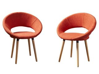 Orange  Keegan Modern Fabric Dining Chair  Set of 2  by Christopher Knight Home  Retail 223 98