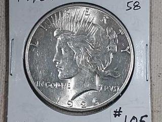 1926 S Peace Dollar AU 58