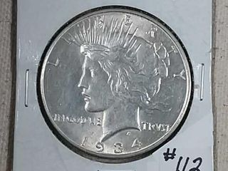 1934 D Peace Dollar Unc