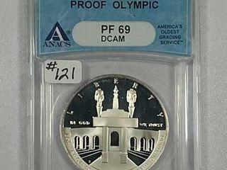 1984 S Olympic Comm  Silver Dollar ANACS PF 69