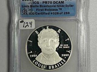 2009 louis Braille Comm  Dollar ICG PR 70 DCAM