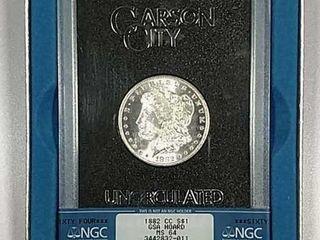 1882 CC Morgan Dollar GSA NGC MS 64