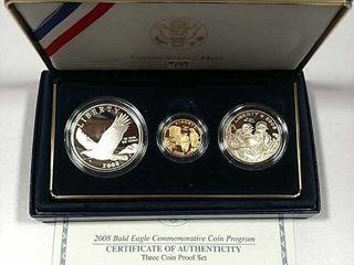 2008 3 coin Bald Eagle Commemotaive Proof set