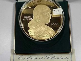 2000 4 troy oz  Silver layered in 24KT Gold Proof