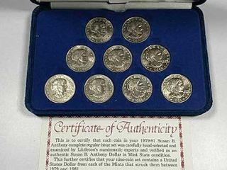 1979   81 Nine Coin Susan B  Anthony Dollar set