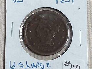 1851 large Cent VG