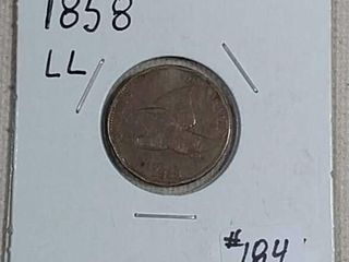 1858 large letters Flying Eagle Cent F