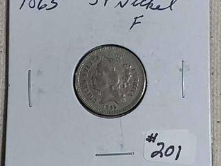 1865 Three Cent Nickel F