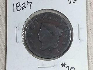 1827 large Cent VG