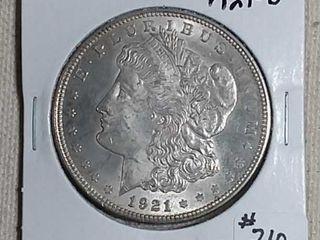 1921 D Morgan Dollar AU