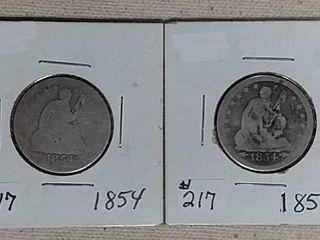 1854   1854 O Seated Quarters AG