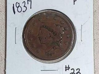 1837 large Cent F