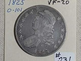1825 Capped Bust Half Dollar VF 20