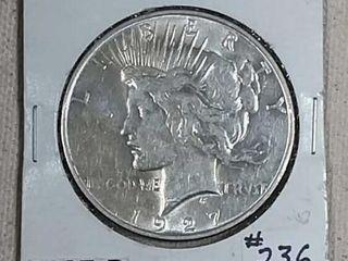 1927 D Peace Dollar AU