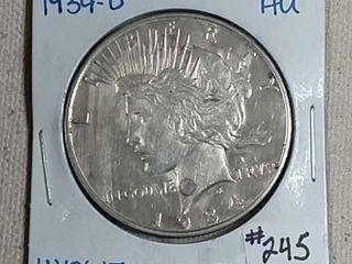 1934 D Peace Dollar AU