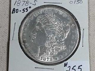 1878 S Morgan Dollar AU 55