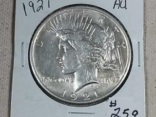 1921 Peace Dollar AU  details obverse scratches
