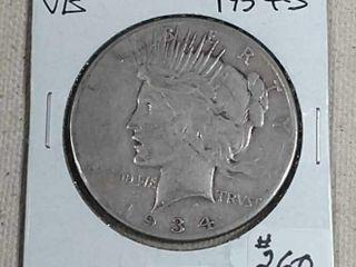 1934 S Peace Dollar VG