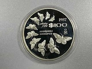 1987  100 Mexican Butterfly design  720 silver PF