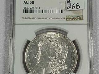 1891 CC  Spitting Eagle  Morgan Dollar NGC AU 58