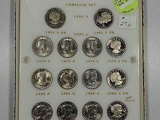 Set of 14 Susan B  Anthony Dollars BU